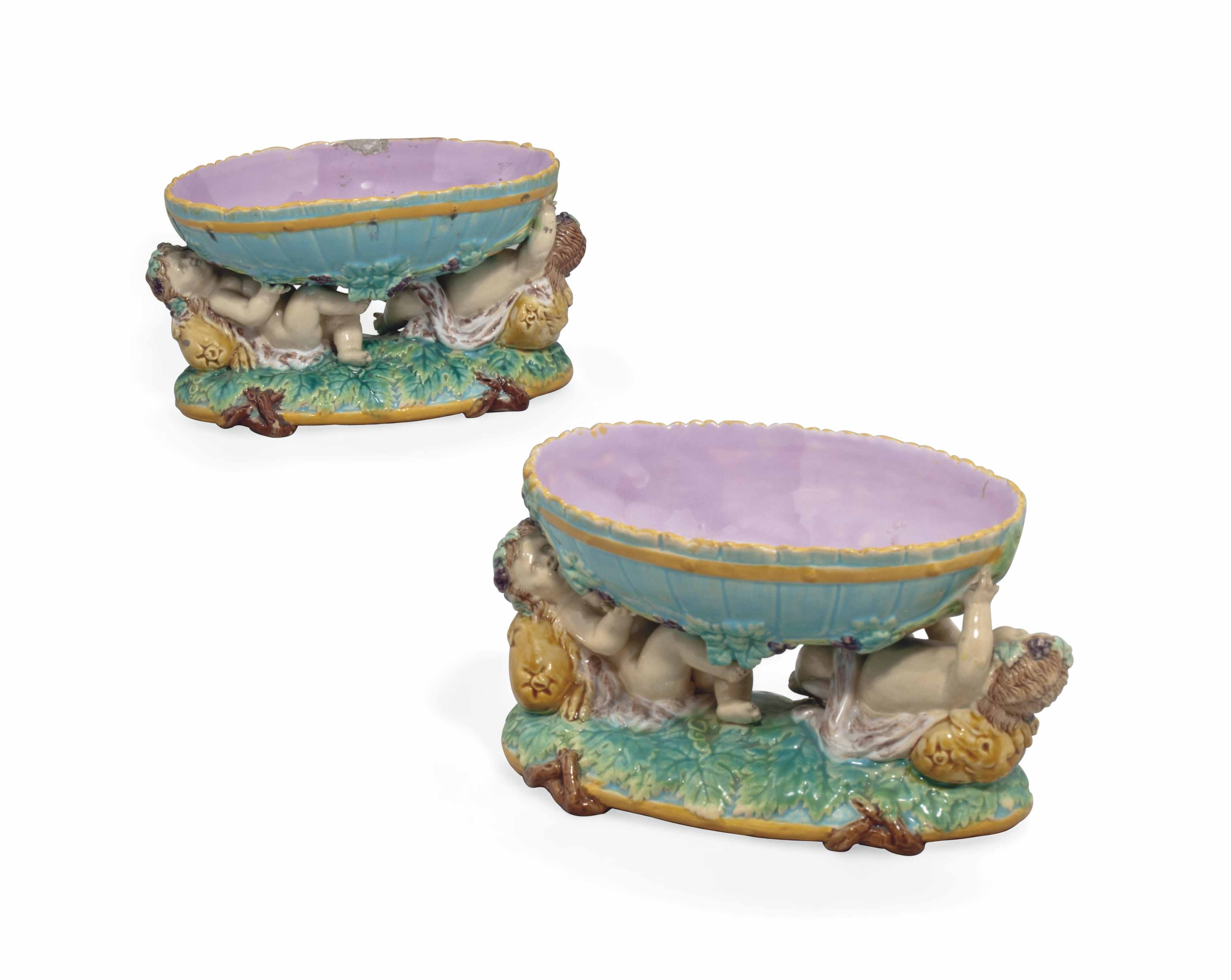A PAIR OF GEORGE JONES MAJOLICA OVAL DISHES