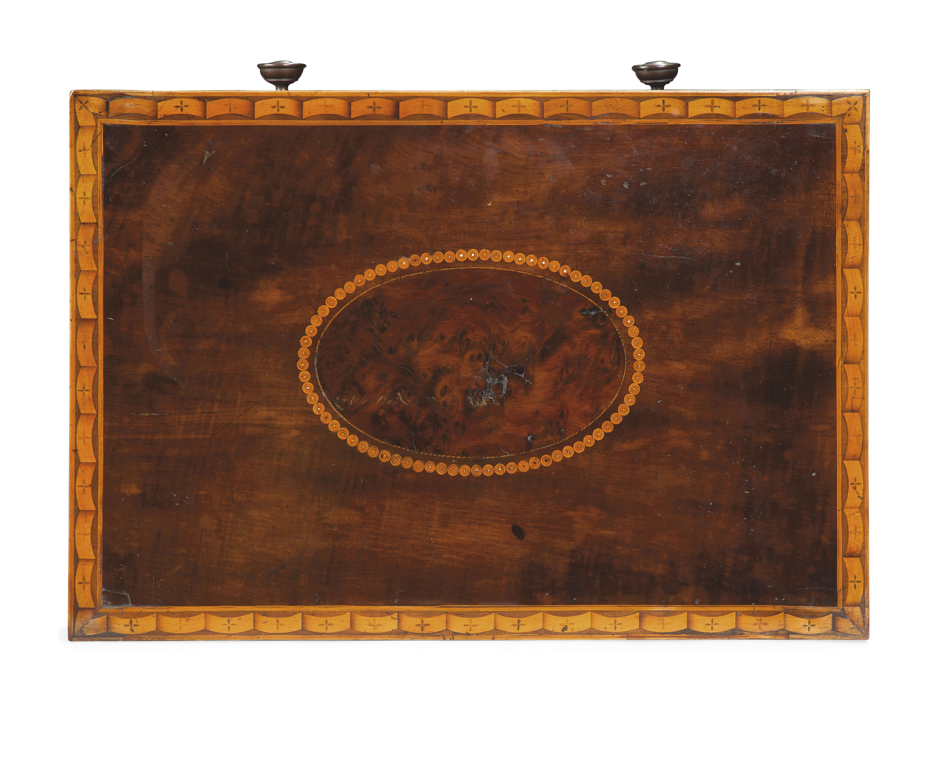 A GEORGE III HAREWOOD, LACEWOOD, BURR YEW AND MARQUETRY OCCASIONAL TABLE