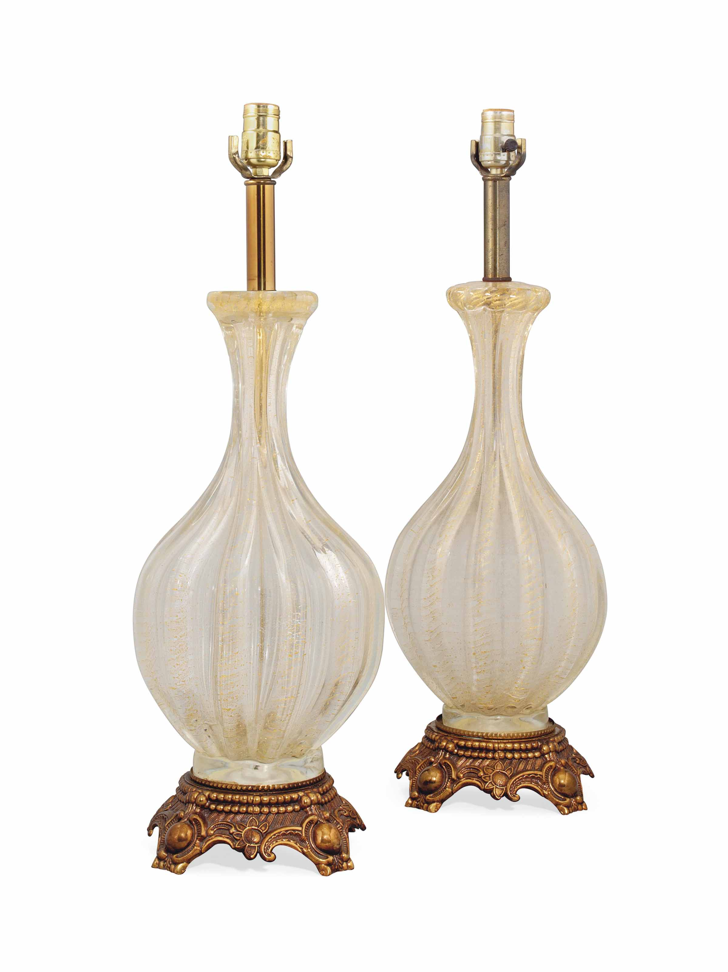 A NEAR PAIR OF VENETIAN MURANO GLASS TABLE LAMPS