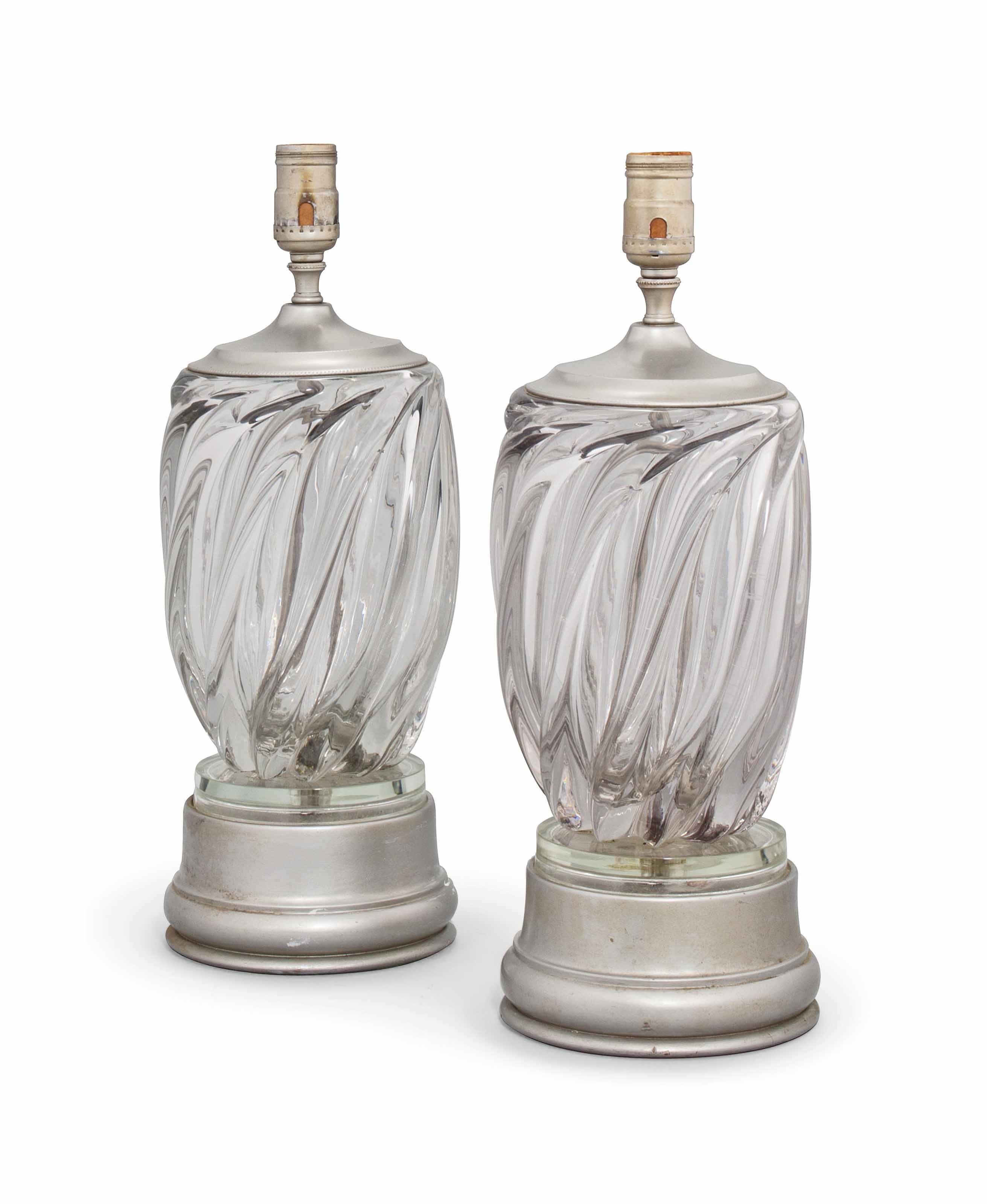 A PAIR OF MURANO GLASS TABLE LAMPS
