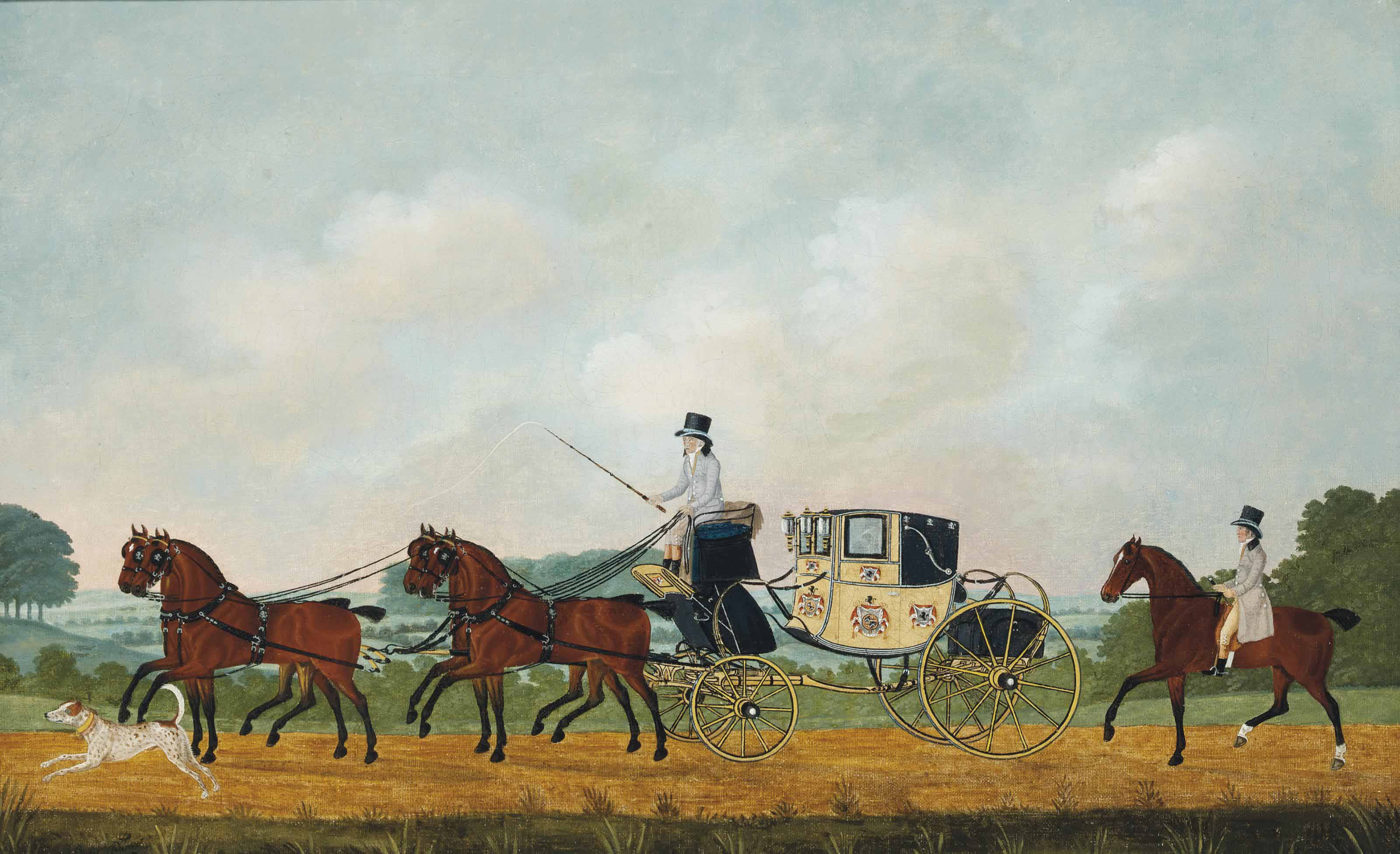 A coach and four, another horseman following behind