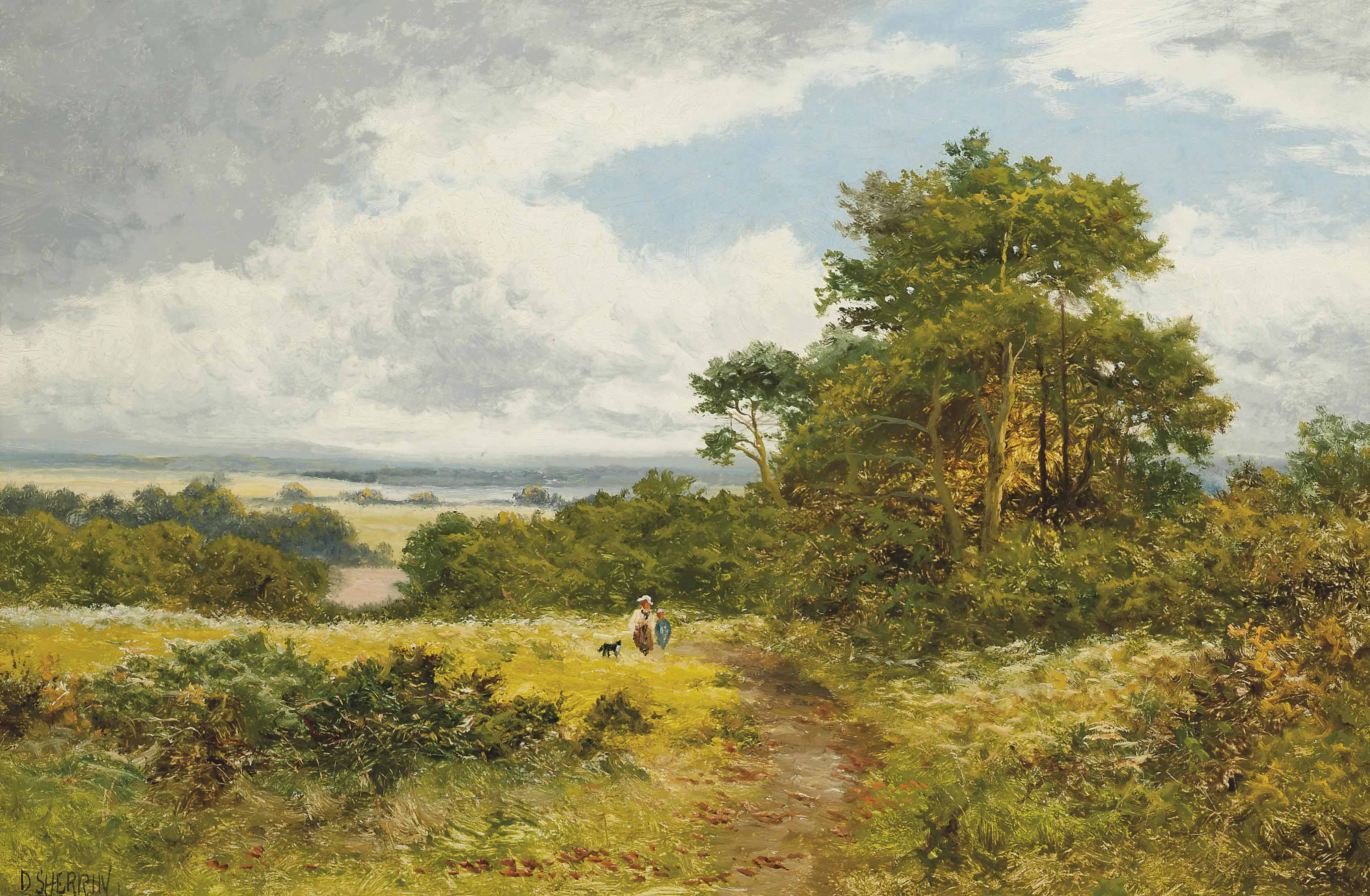 Figures in a Surrey landscape