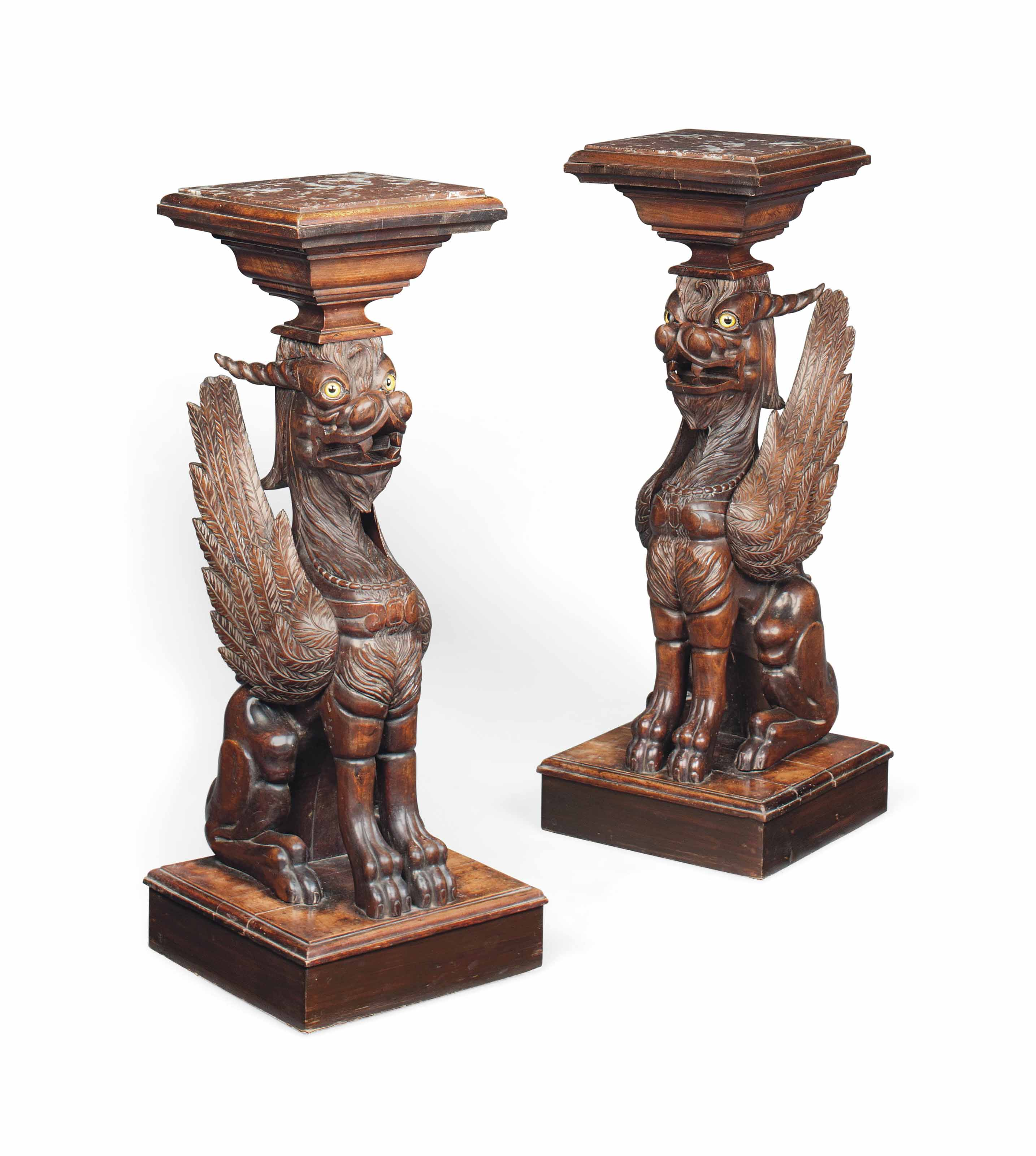 A PAIR OF FRENCH CARVED BEECH PEDESTALS