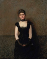 Portrait of a lady, three-quarter-length, in an evening gown