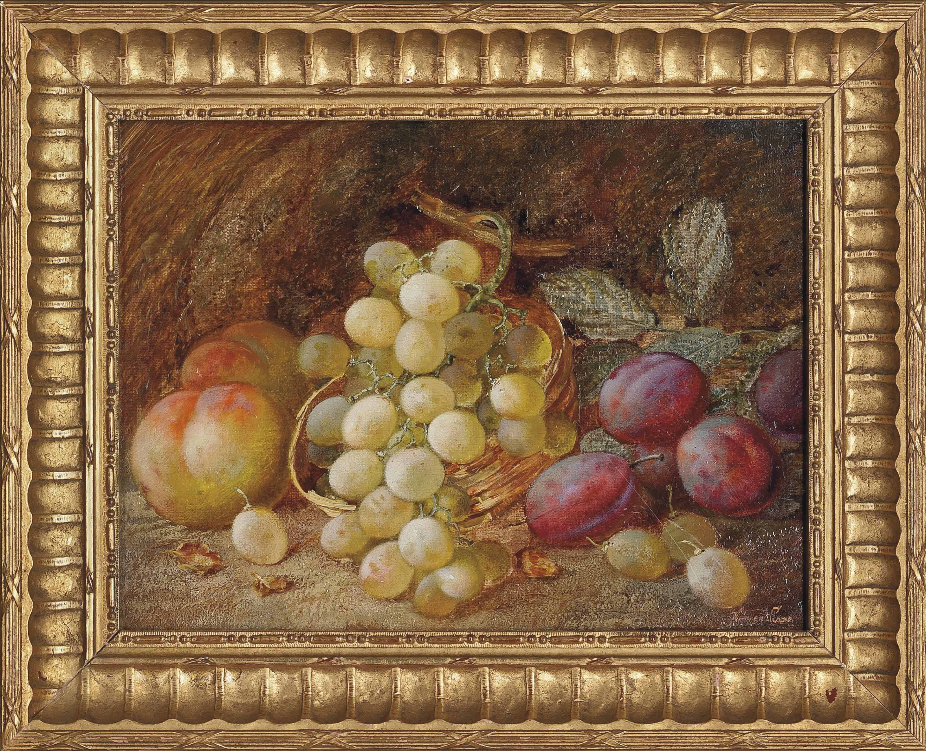 Grapes, peaches and plums on a mossy bank