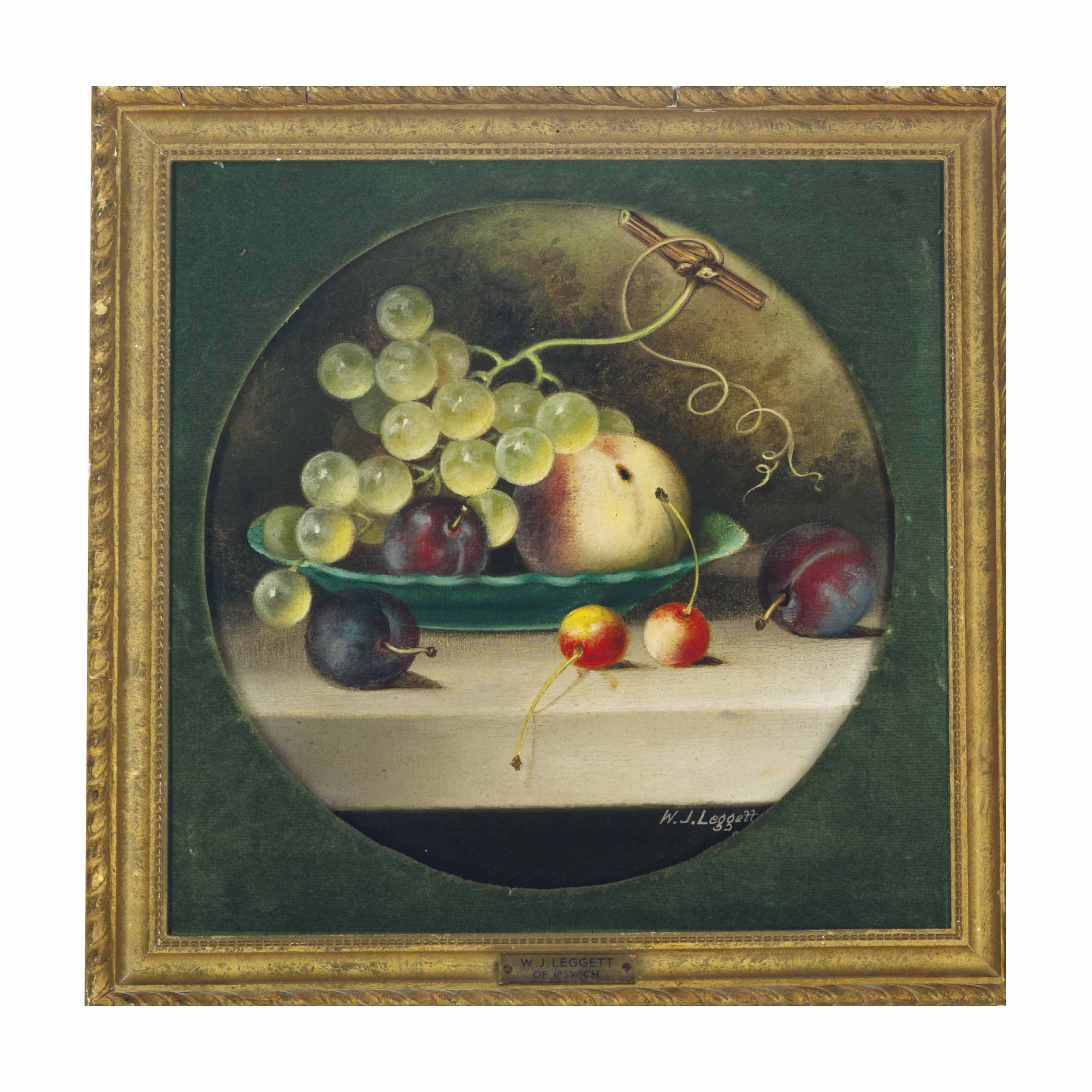 Green grapes, cherries, peaches and plums in a green bowl; and Black grapes, peaches and plums on a stone ledge