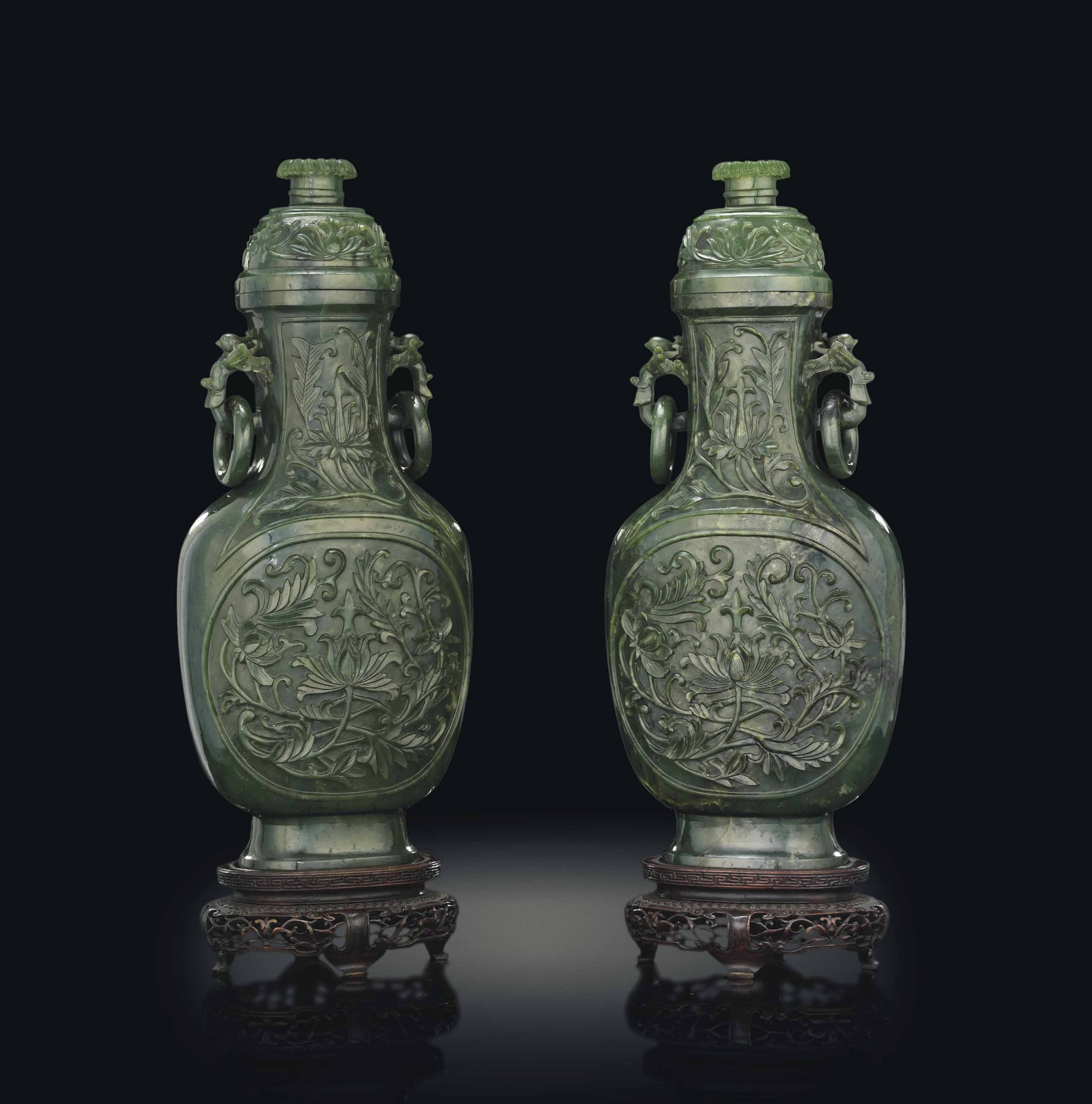 A PAIR OF CHINESE SPINACH BALUSTER VASES AND COVERS