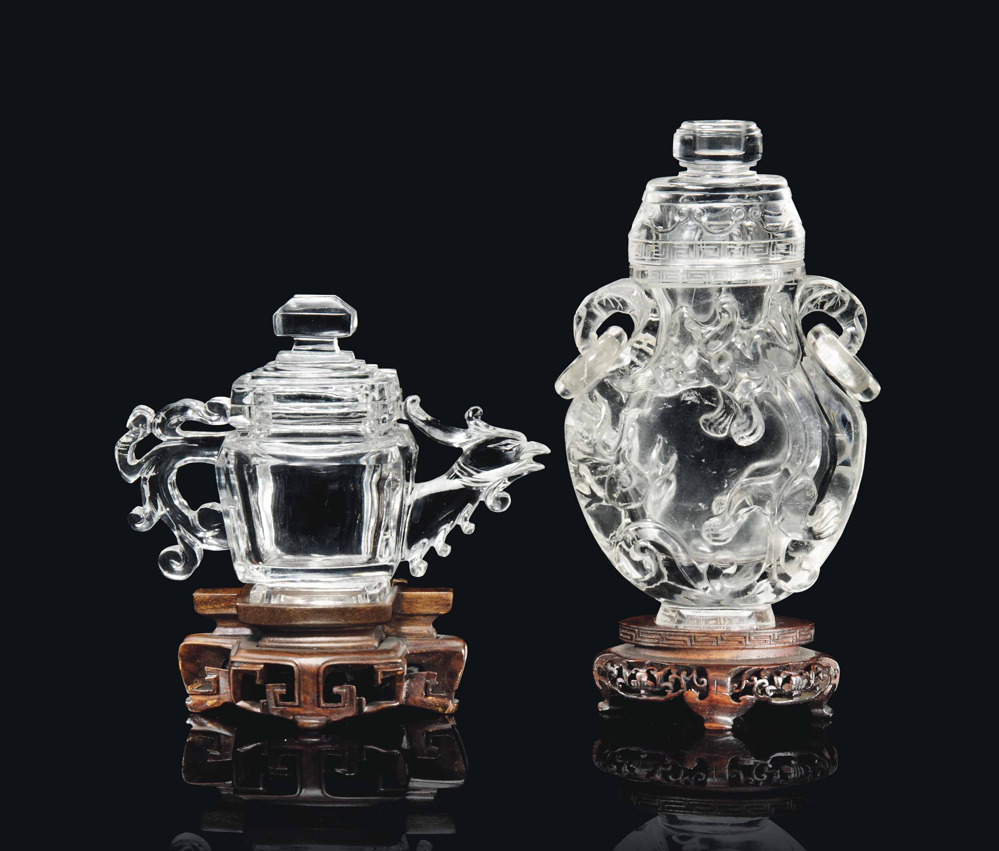 A CHINESE ROCK CRYSTAL VASE AND COVER; AND A TEAPOT AND COVER