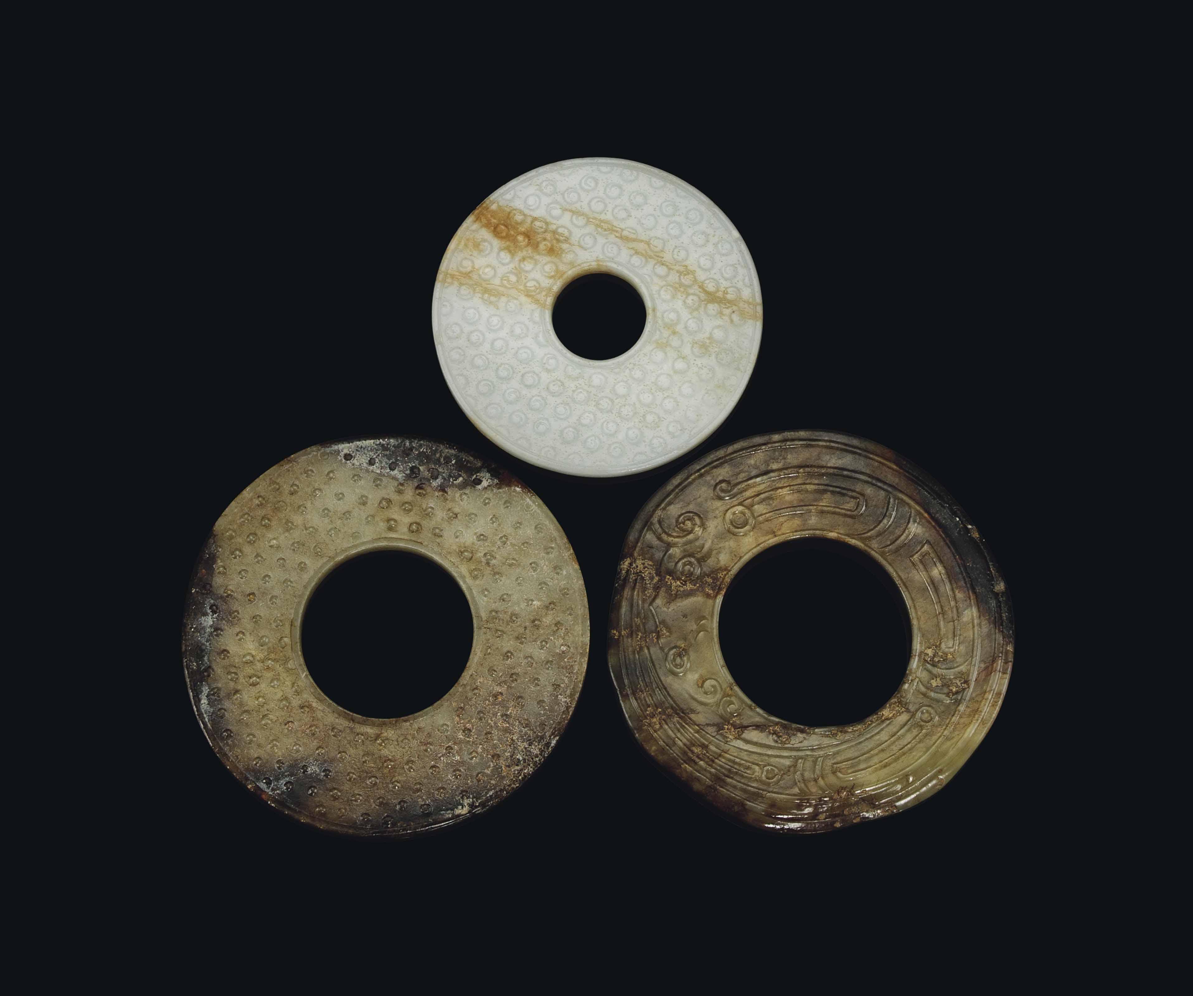 THREE CHINESE JADE DISCS, BI