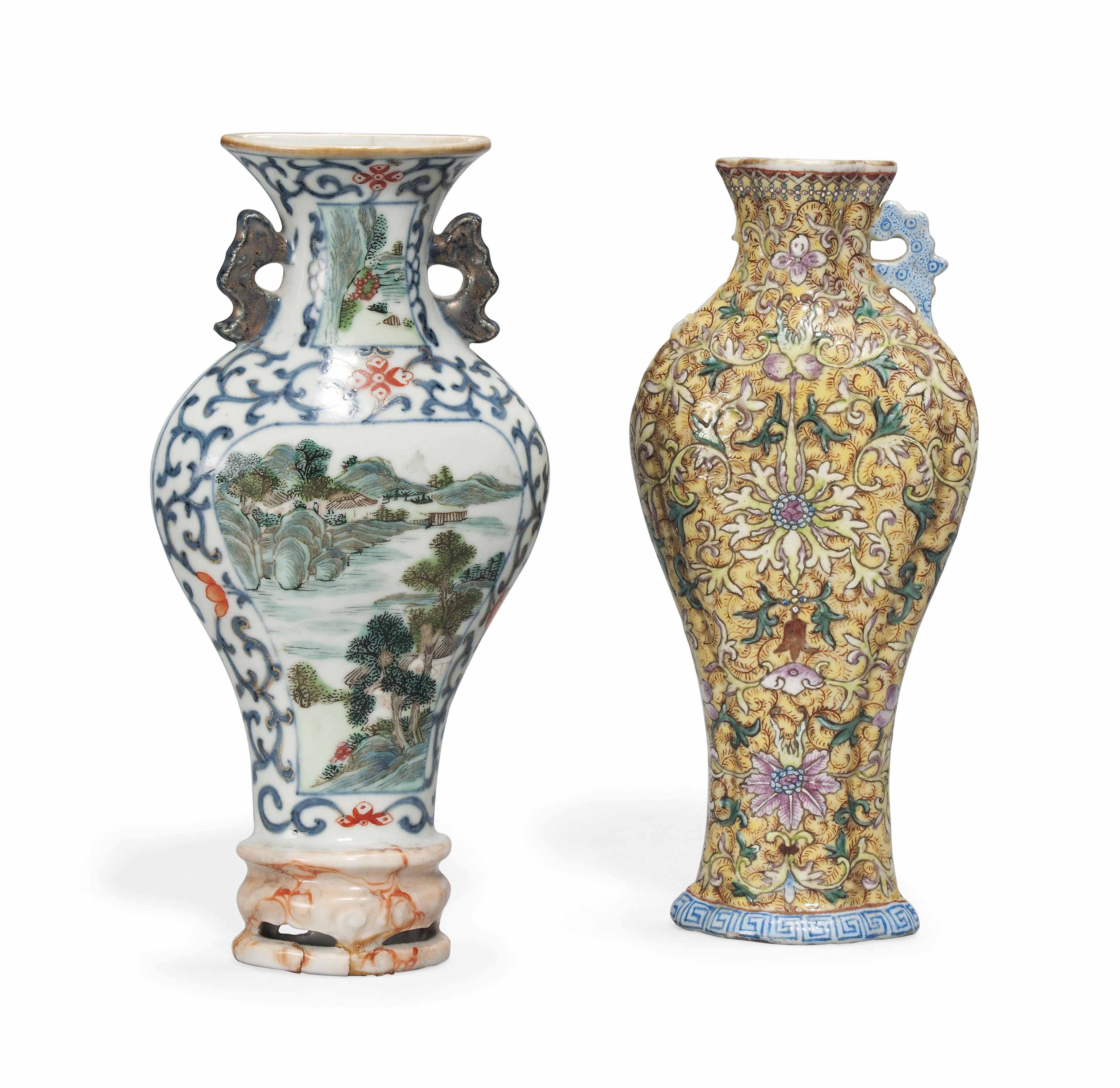 TWO CHINESE PORCELAIN BALUSTER WALL VASES