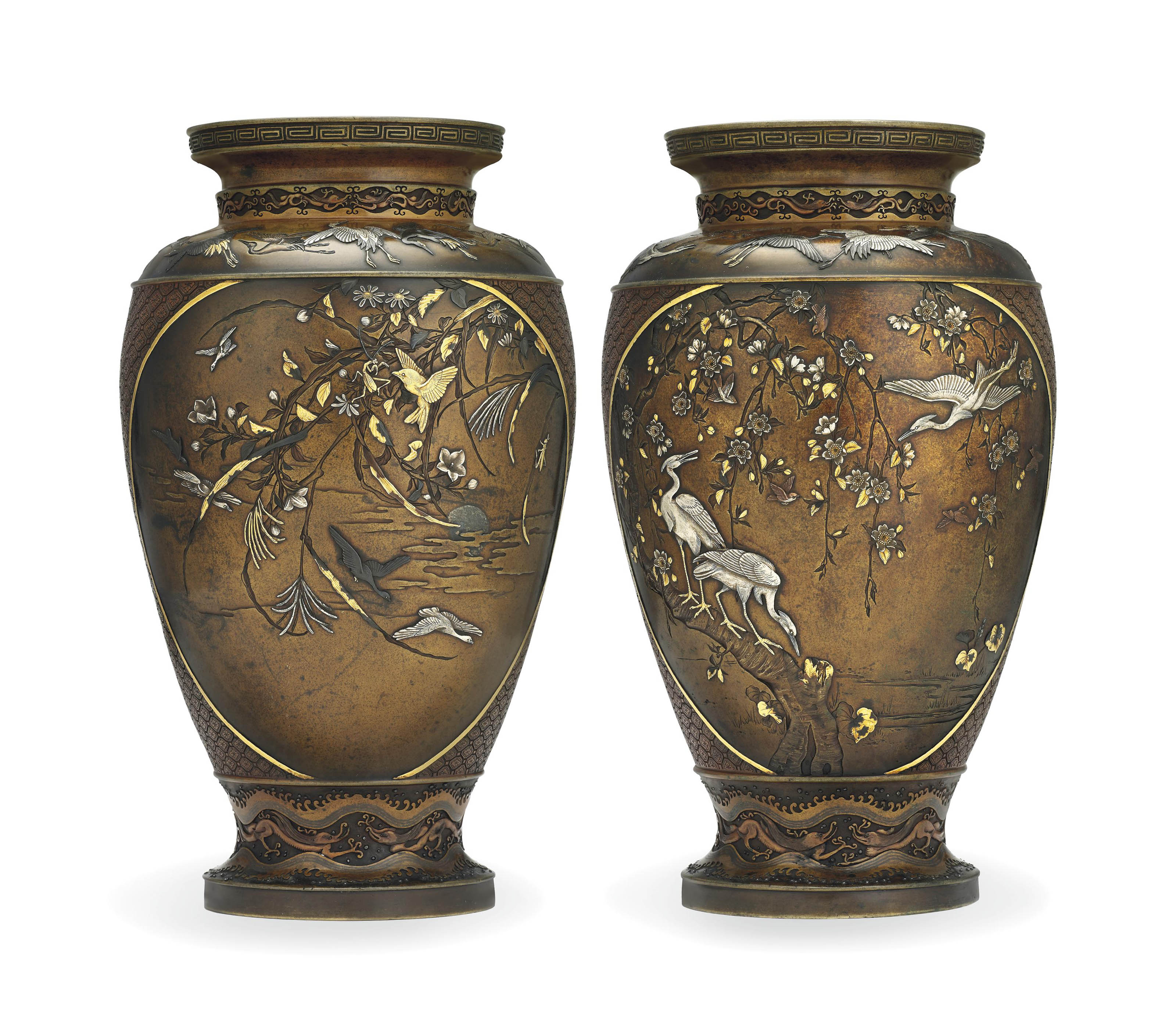 A Pair of Bronze and Copper Vases
