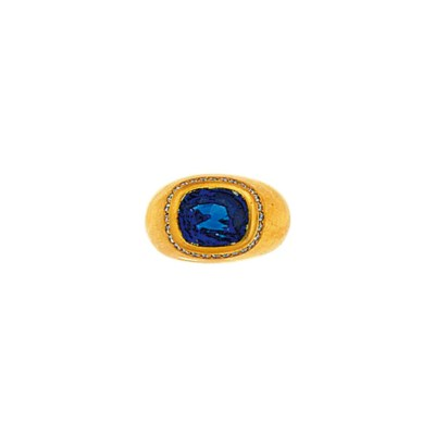 An 18ct. yellow gold, sapphire