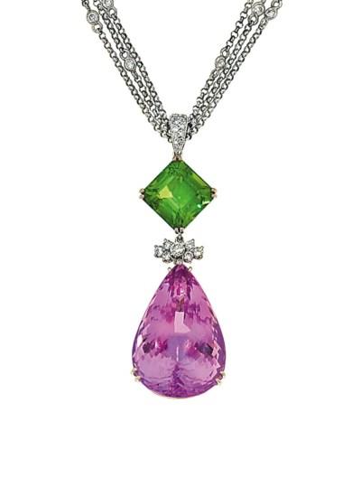 A kunzite, peridot and diamond