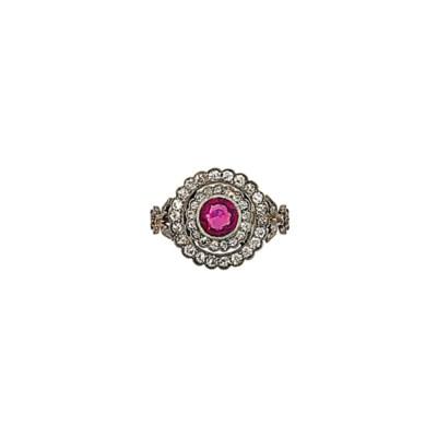 A pink sapphire and diamond fl