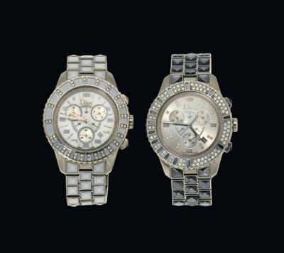 Two diamond-set, stainless ste
