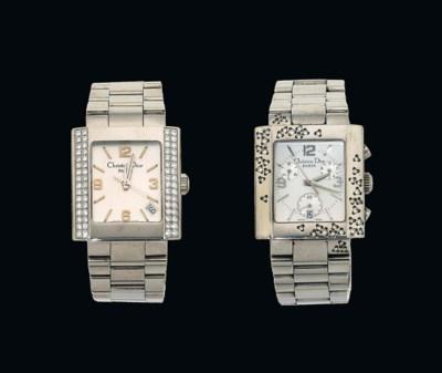Two diamond-set stainless stee