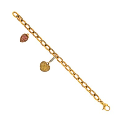 A coloured diamond bracelet, b