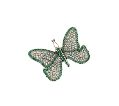 An emerald and diamond butterf