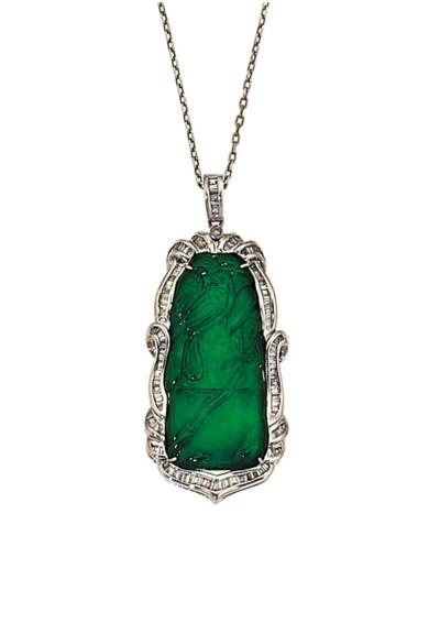A jade and diamond pendant