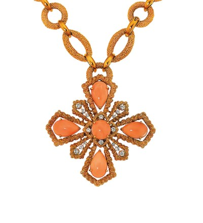A coral and diamond brooch/pen