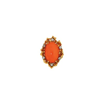 A coral and diamond ring, by G