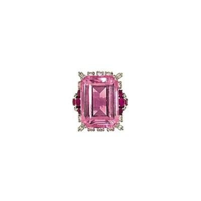 A pink beryl, ruby and diamond