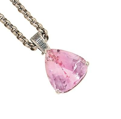 A kunzite and diamond pendant,