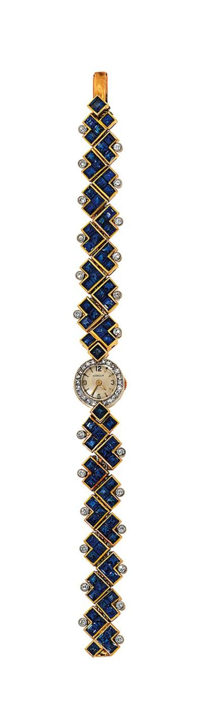 A sapphire and diamond wristwa