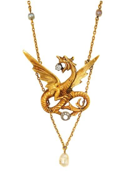 A Neo-Gothic diamond-set drago