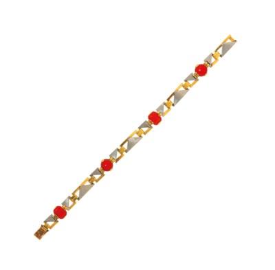 An Art Deco coral-set bracelet