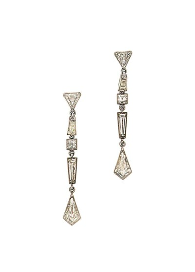 A pair of diamond pendent earr