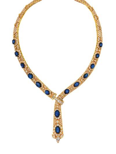A sapphire and diamond necklac