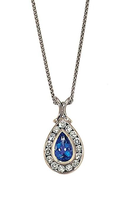A tanzanite and diamond pendan