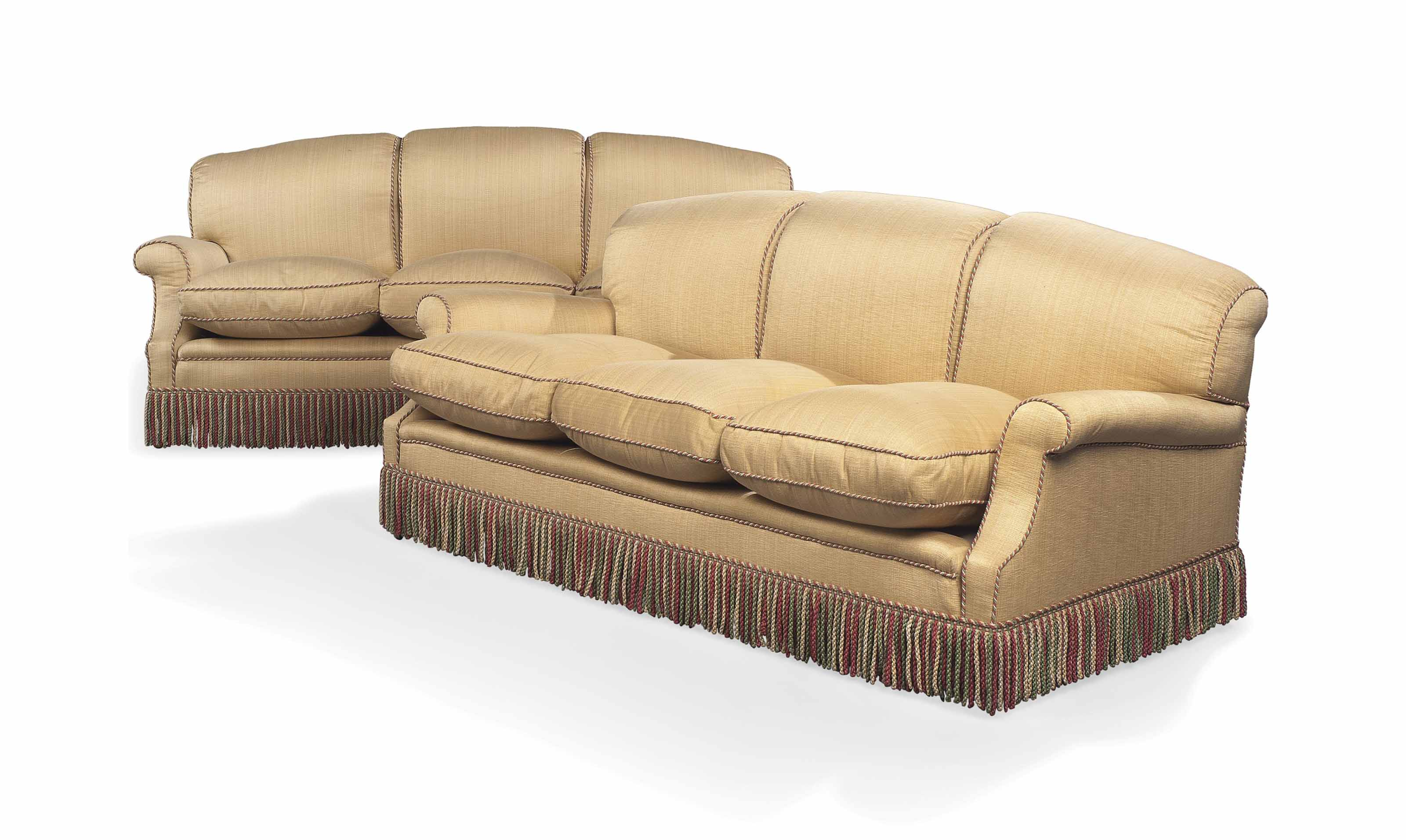 A PAIR OF CREAM UPHOLSTERED TH