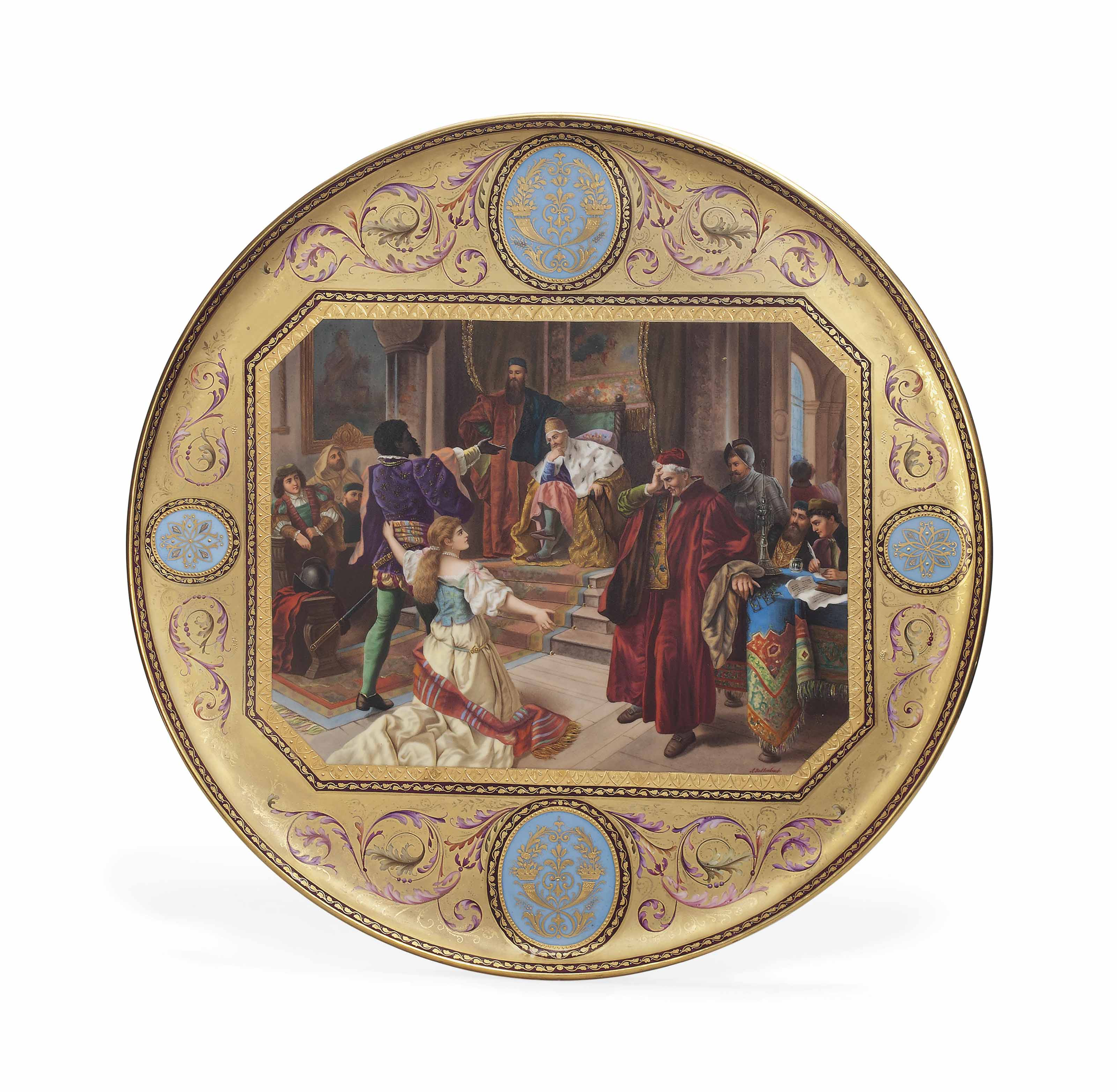 A VIENNA-STYLE PORCELAIN GOLD-