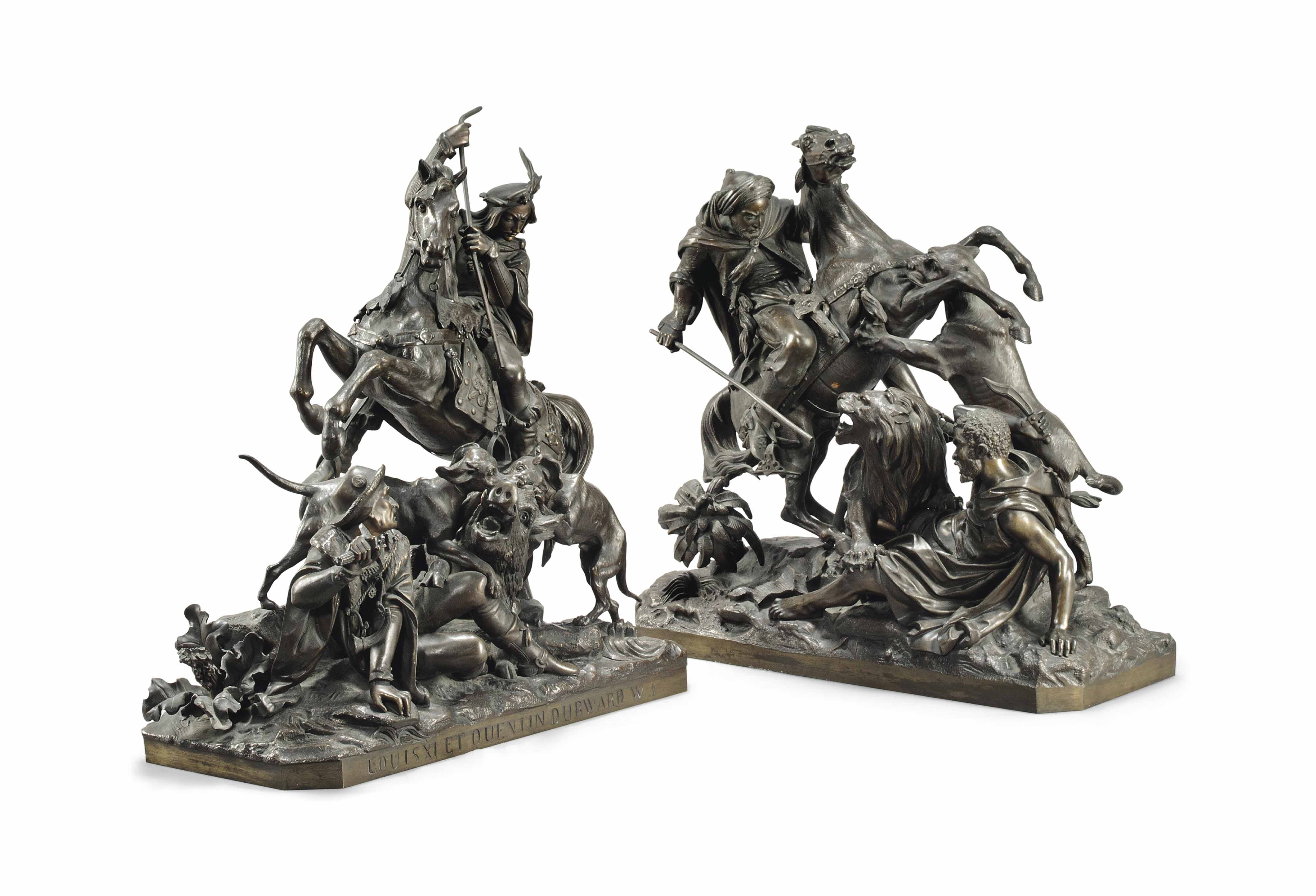 A FRENCH BRONZE GROUP OF QUENT