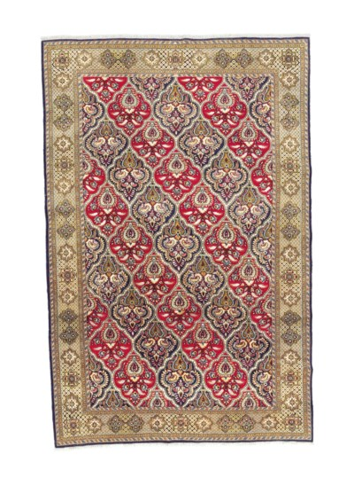 A FINE PART SILK QUM CARPET, C