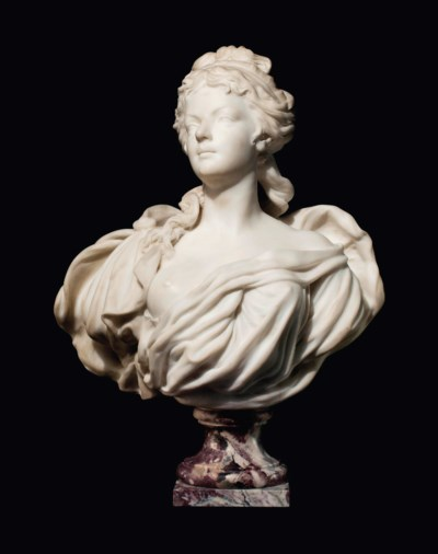 A FRENCH MARBLE BUST OF A LADY