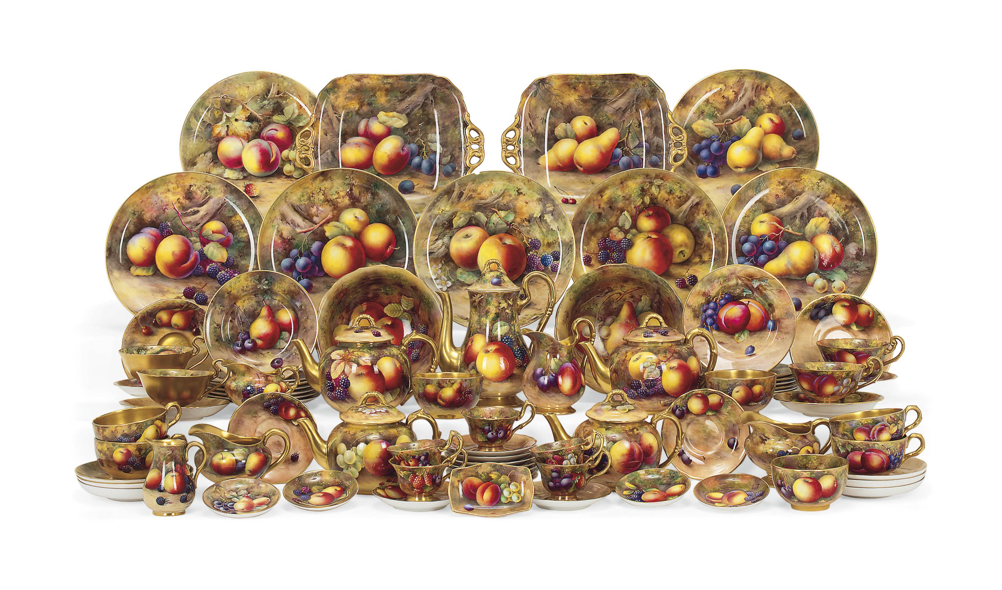 A GROUP OF ROYAL WORCESTER FRUIT-PAINTED WARES