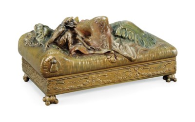 AN EROTIC, COLD-PAINTED BRONZE