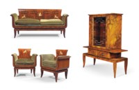 A FRANCO ALBINI (1905-1977) WALNUT, MACASSAR EBONY AND INDIAN ROSEWOOD SALON SUITE
