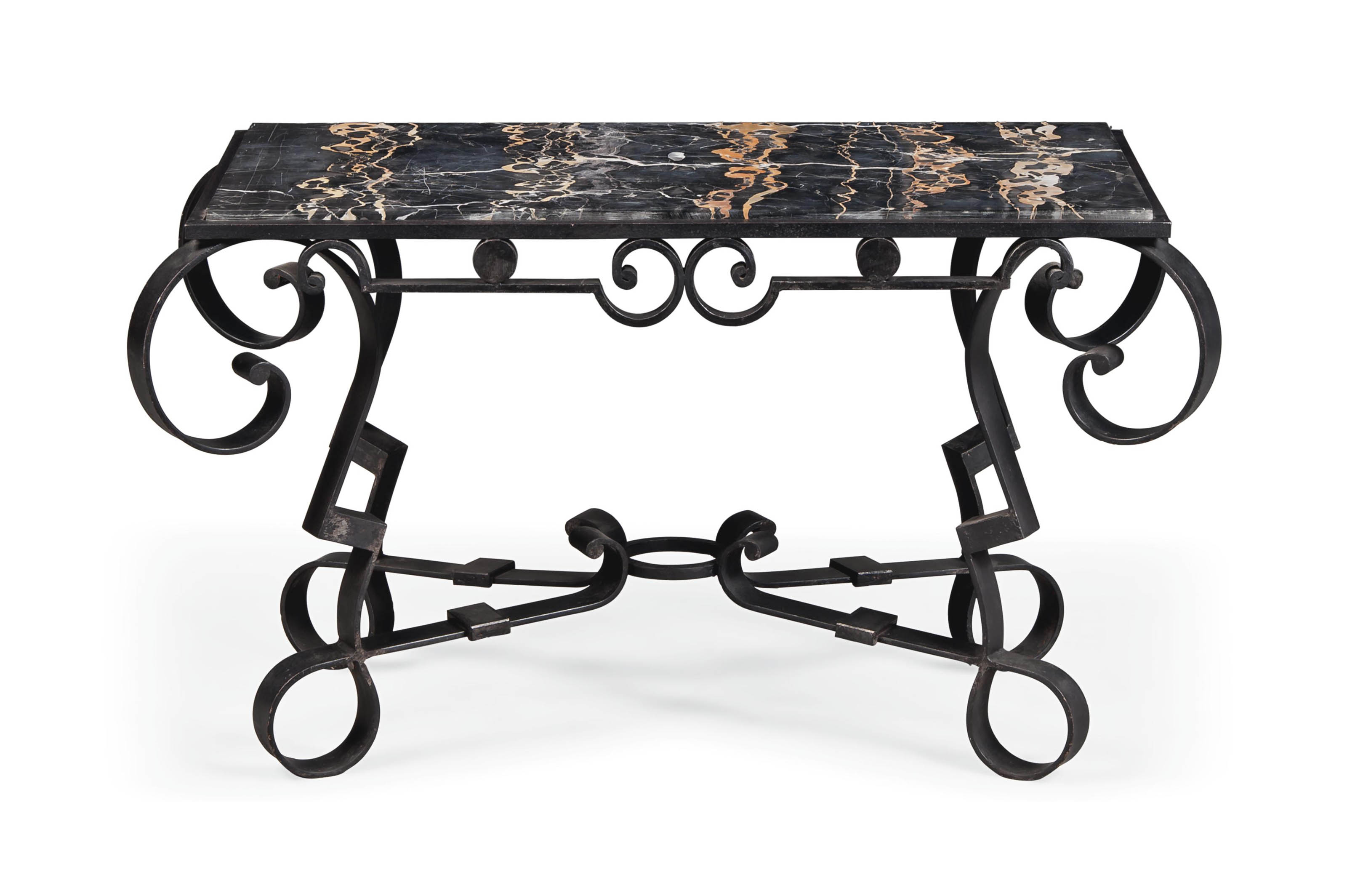 AN ART DECO FRENCH WROUGHT-IRON AND MARBLE OCCASIONAL TABLE ATTRIBUTED TO RAYMOND SUBES