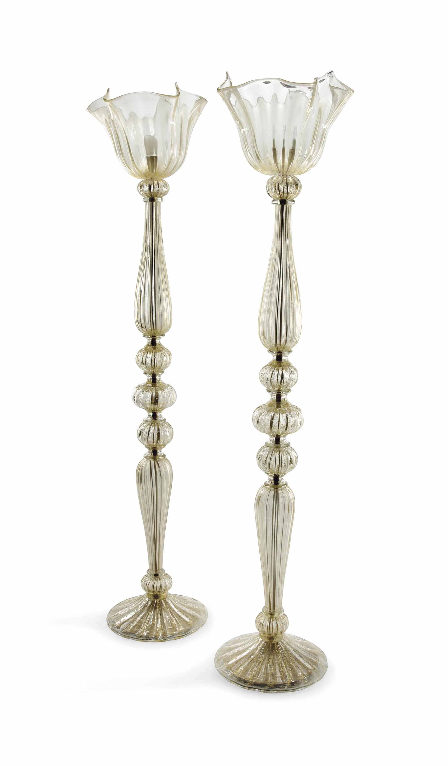 A PAIR OF MURANO GLASS FLOOR-S