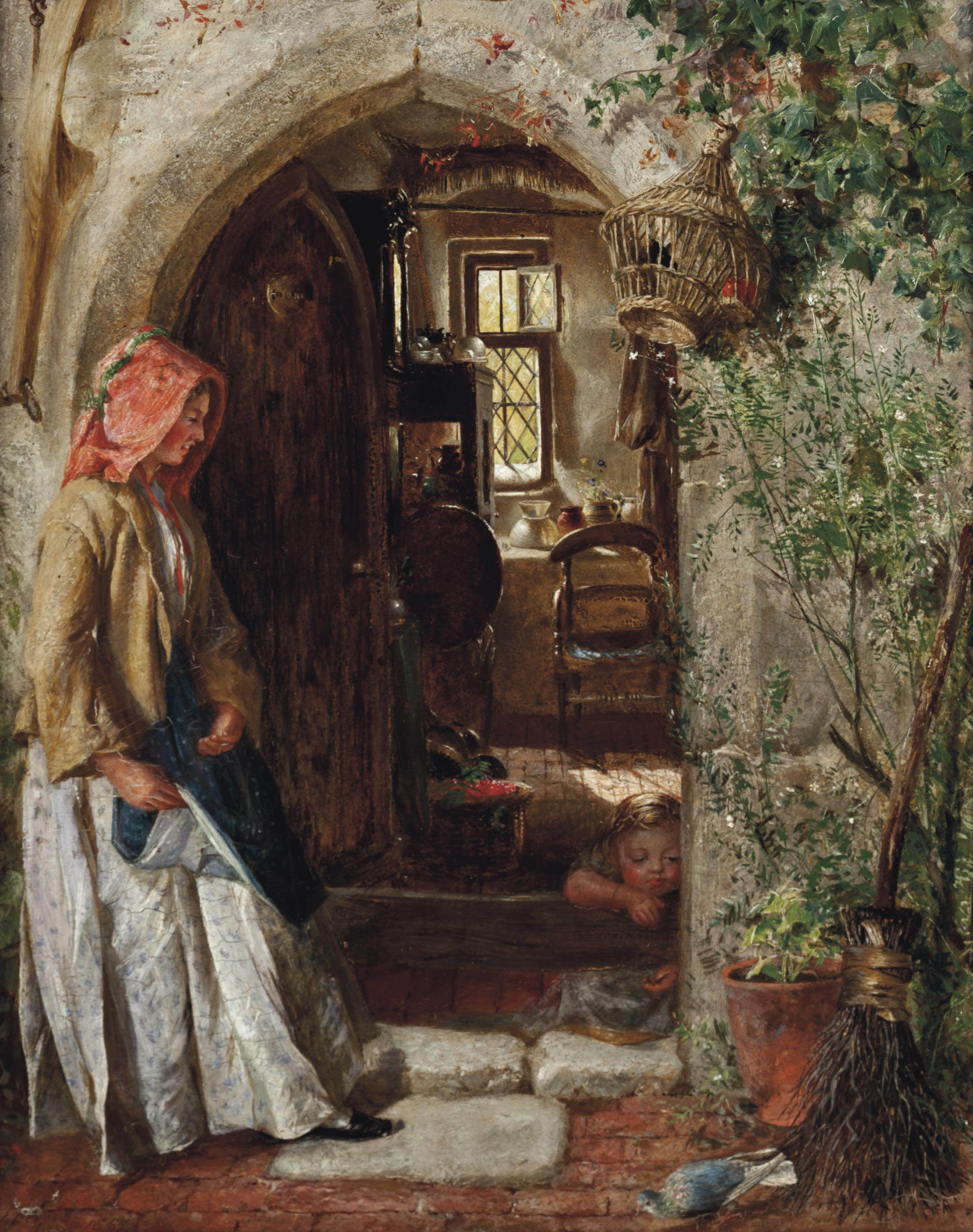 At the doorway