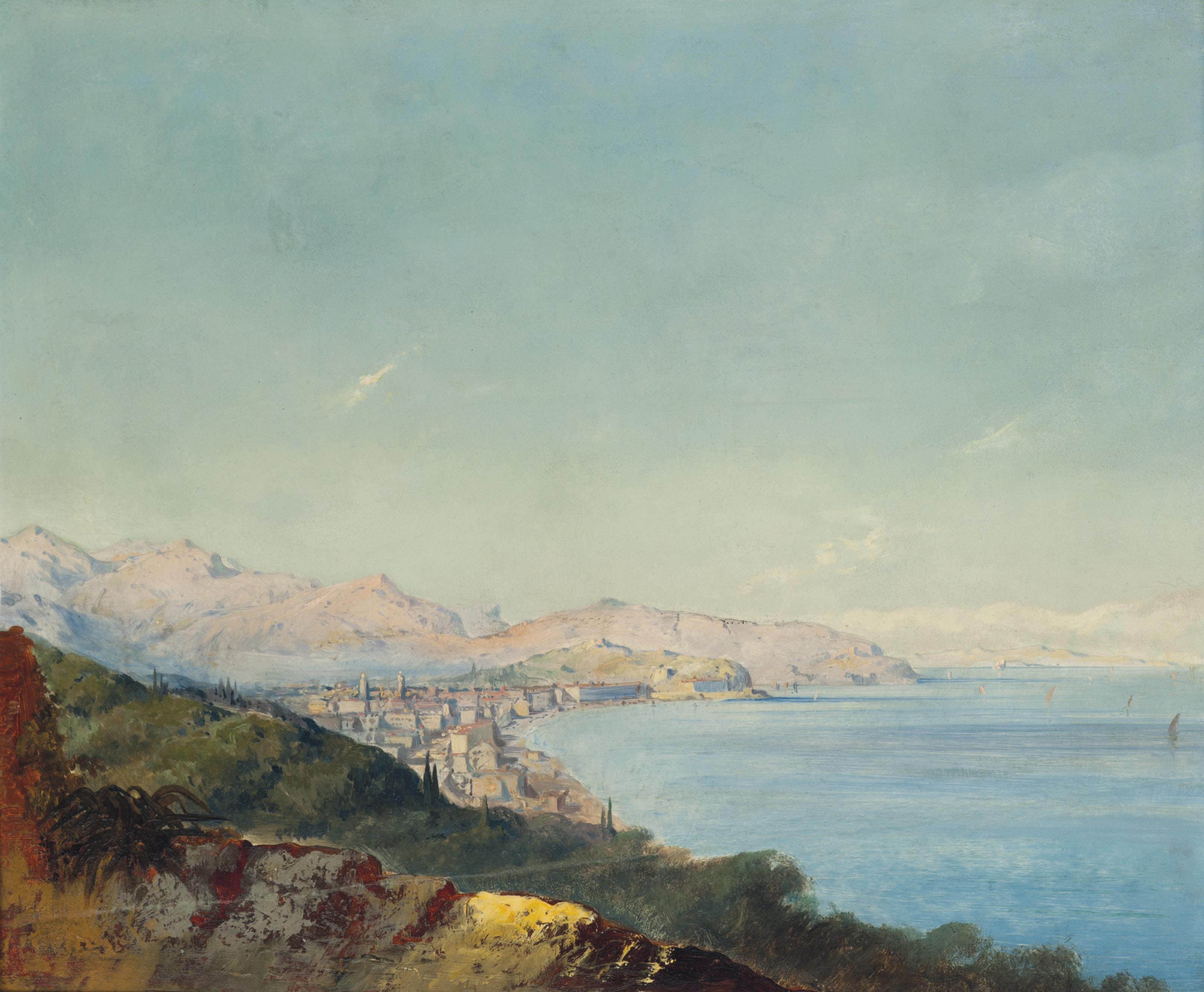 A view along a coast, traditionally identified as Nice