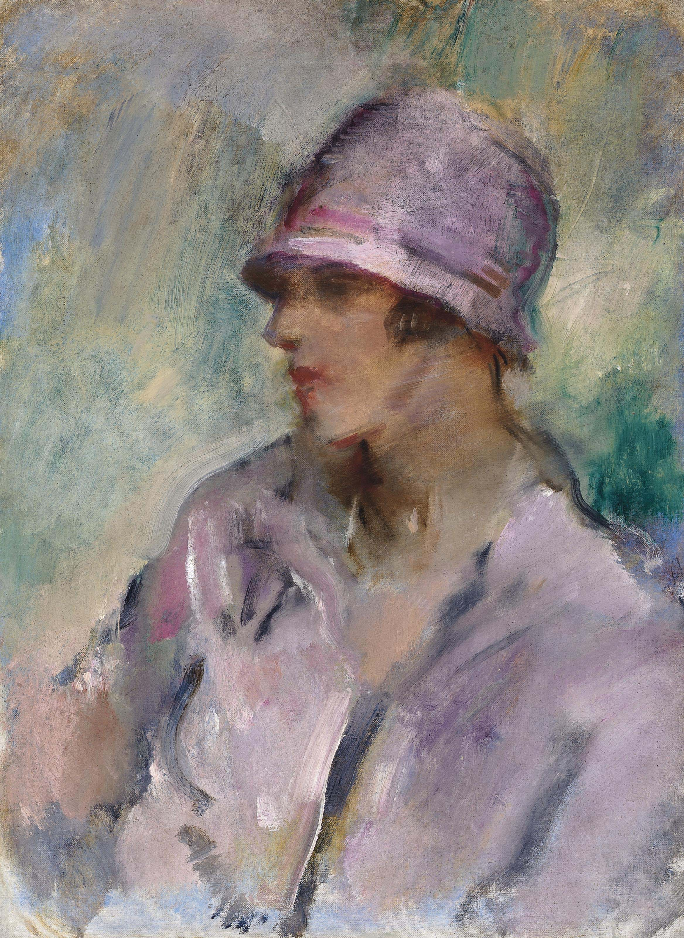 Portrait of a lady, bust length, in a pink hat and coat