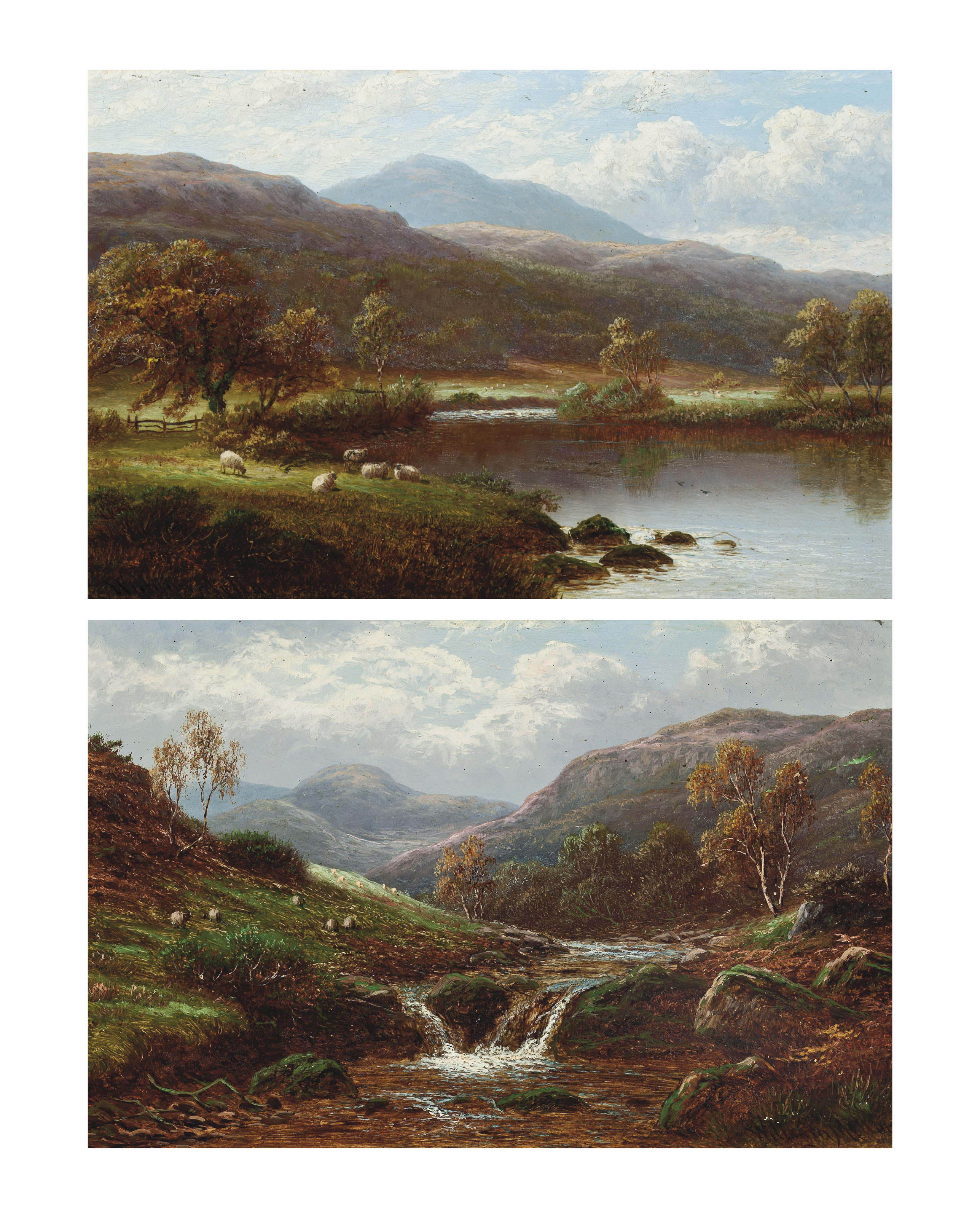 On the Lledr, North Wales; and View in Borrowdale, Cumberland