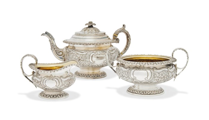 A GEORGE IV THREE-PIECE SILVER