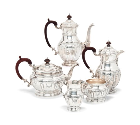 A FIVE-PIECE SILVER TEA SERVIC