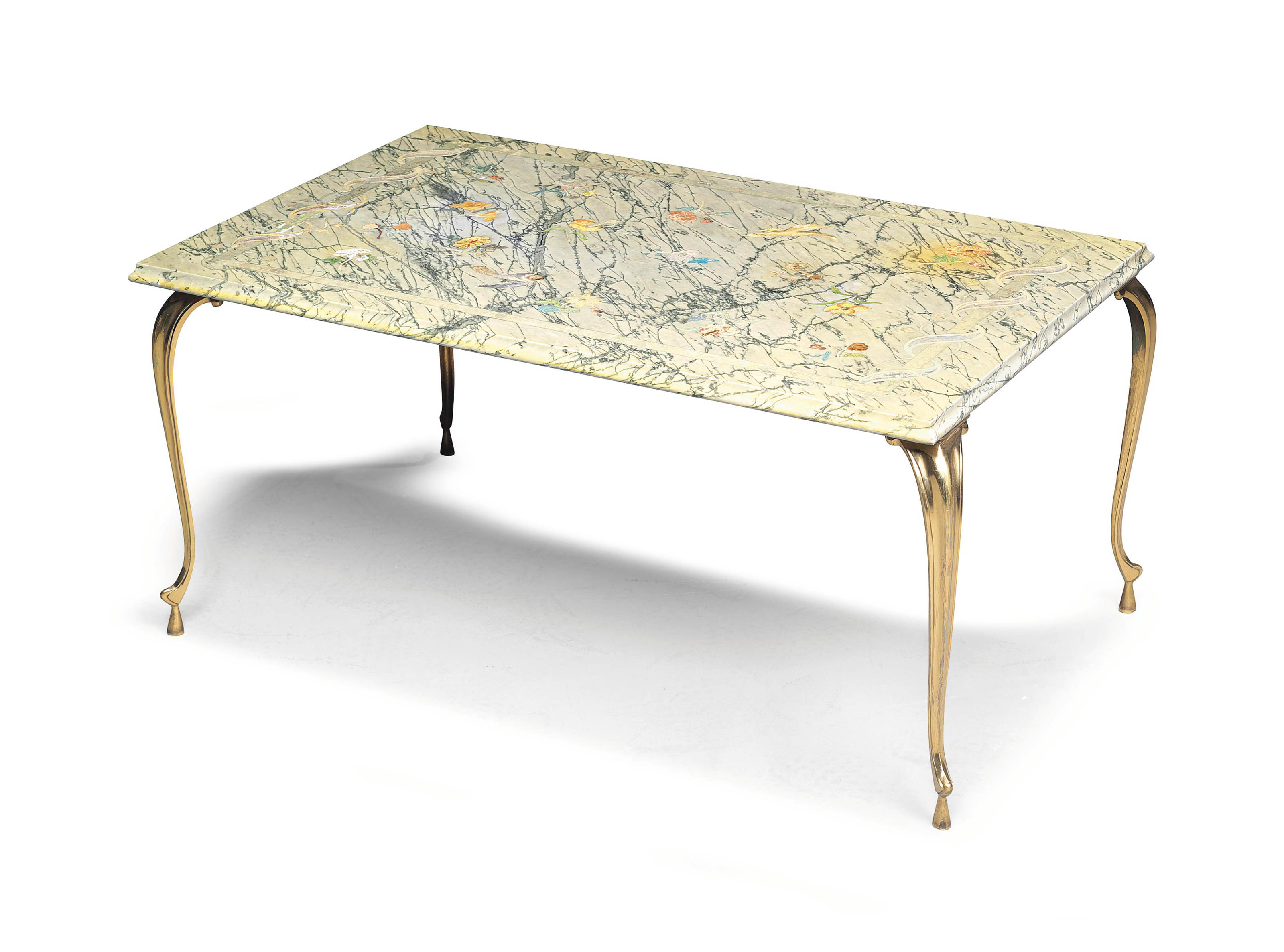 A GREEN-VARIEGATED AND INLAID MARBLE LOW TABLE